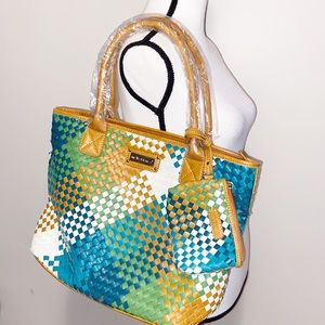 NWT Melie Bianco Woven faux leather Tote bag